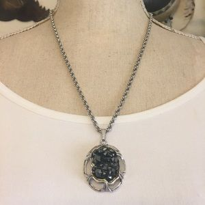 Vintage Whiting & Davis crystal pendant with chain